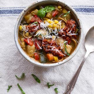 Tuscan Summer Minestrone with Sun-Dried Tomato Pesto.