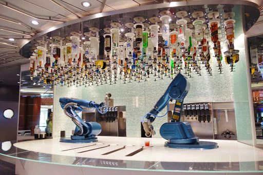 Royal-Caribbean-Bionic-Bar-action.jpg - The robotic bartenders in action at the Bionic Bar aboard Quantum of the Seas.