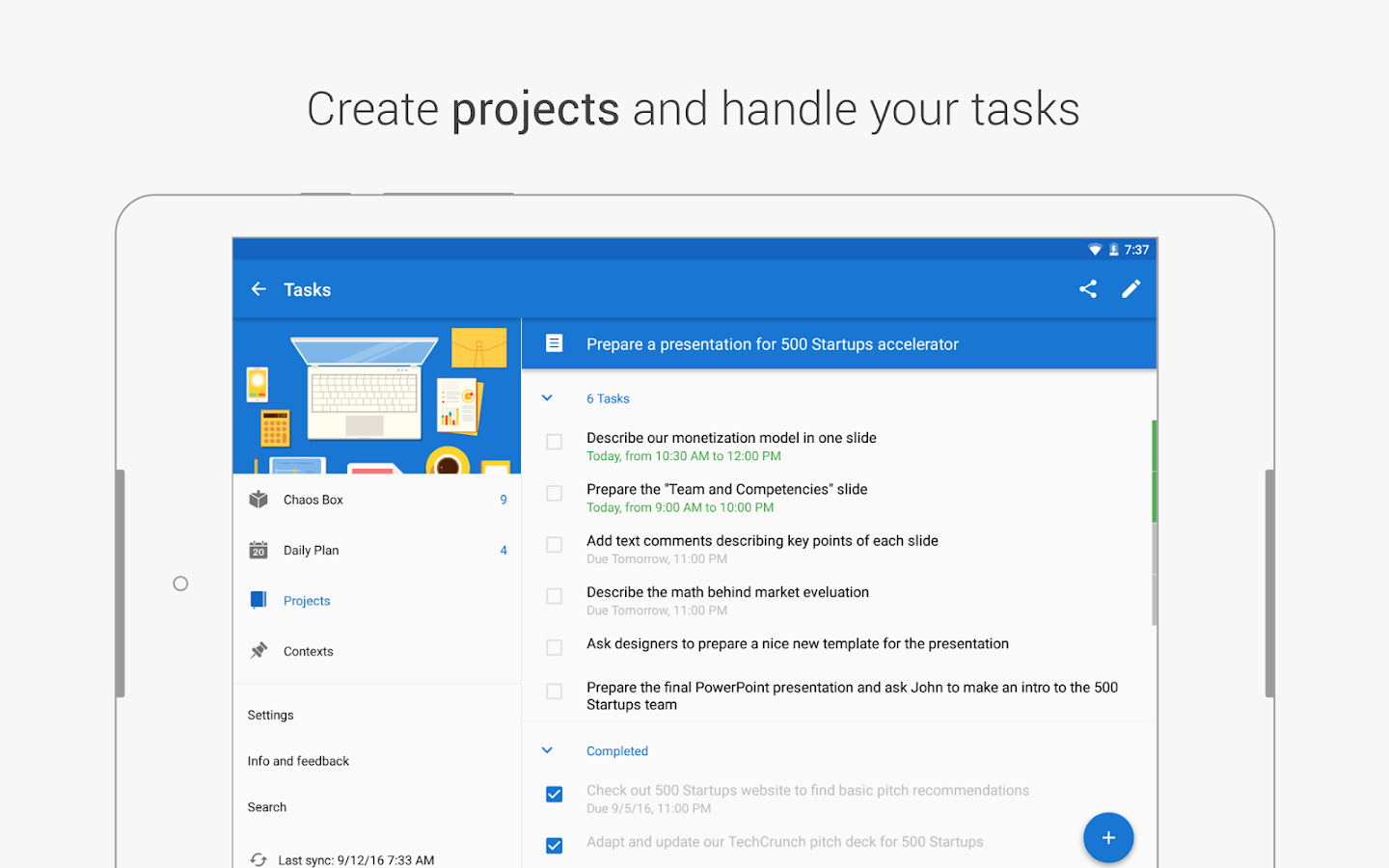 Chaos Control: GTD Organizer & Task List Manager- screenshot