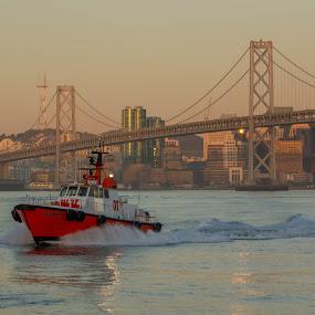 San Francisco Pilot Boat by Gusty Stambaugh - Transportation Boats ( shipping, pilot, bay bridge, boat, san francisco )