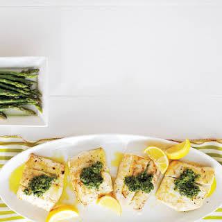 Pan-Fried Halibut With Lemon-Dill Pesto.