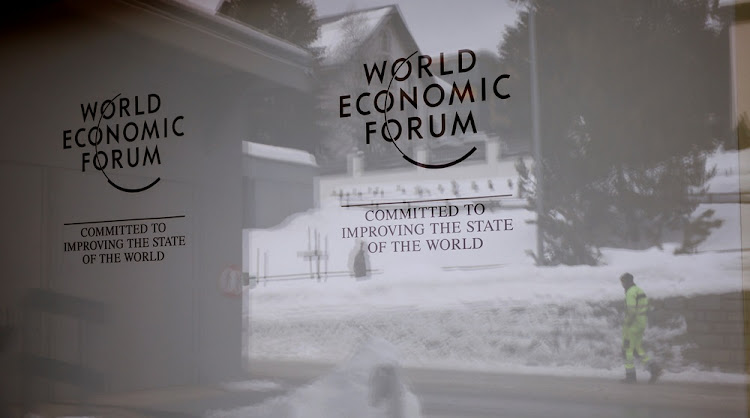The World Economic Forum's logo at the congress centre in the Swiss mountain resort of Davos, Switzerland, January 11 2018. Picture: REUTERS