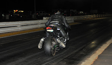 Photo: Last run of the night in the left lane. The rider of this bike stood it up, and when it came back down it broke da bike's oil tank ... made for one BIG mess!