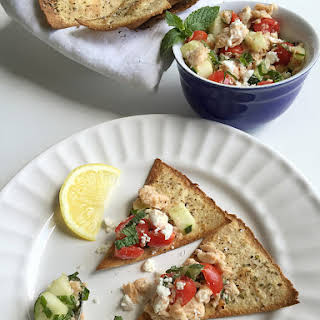 Salmon Salad with Cucumber, Feta, and Mint.