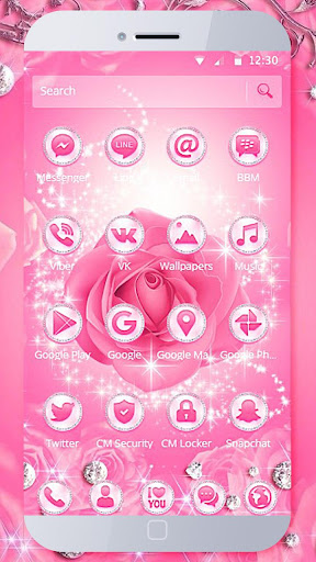Diamond Pink Rose Theme  screenshots 2