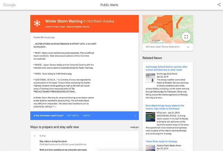 Google Public Alert Winter Storm Warning Example.