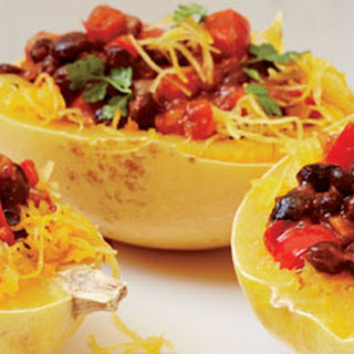 Spaghetti Squash with Chili Black Beans