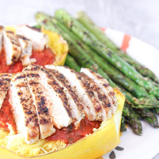 Spaghetti Squash With Grilled Chicken & Asparagus