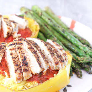 Spaghetti Squash With Grilled Chicken & Asparagus.