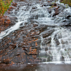 Cascade by Reva Fuhrman - Landscapes Waterscapes ( waterfall rock fall trees  pool of water,  )