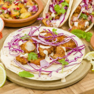 Gluten Free Beer Battered Fish Tacos.