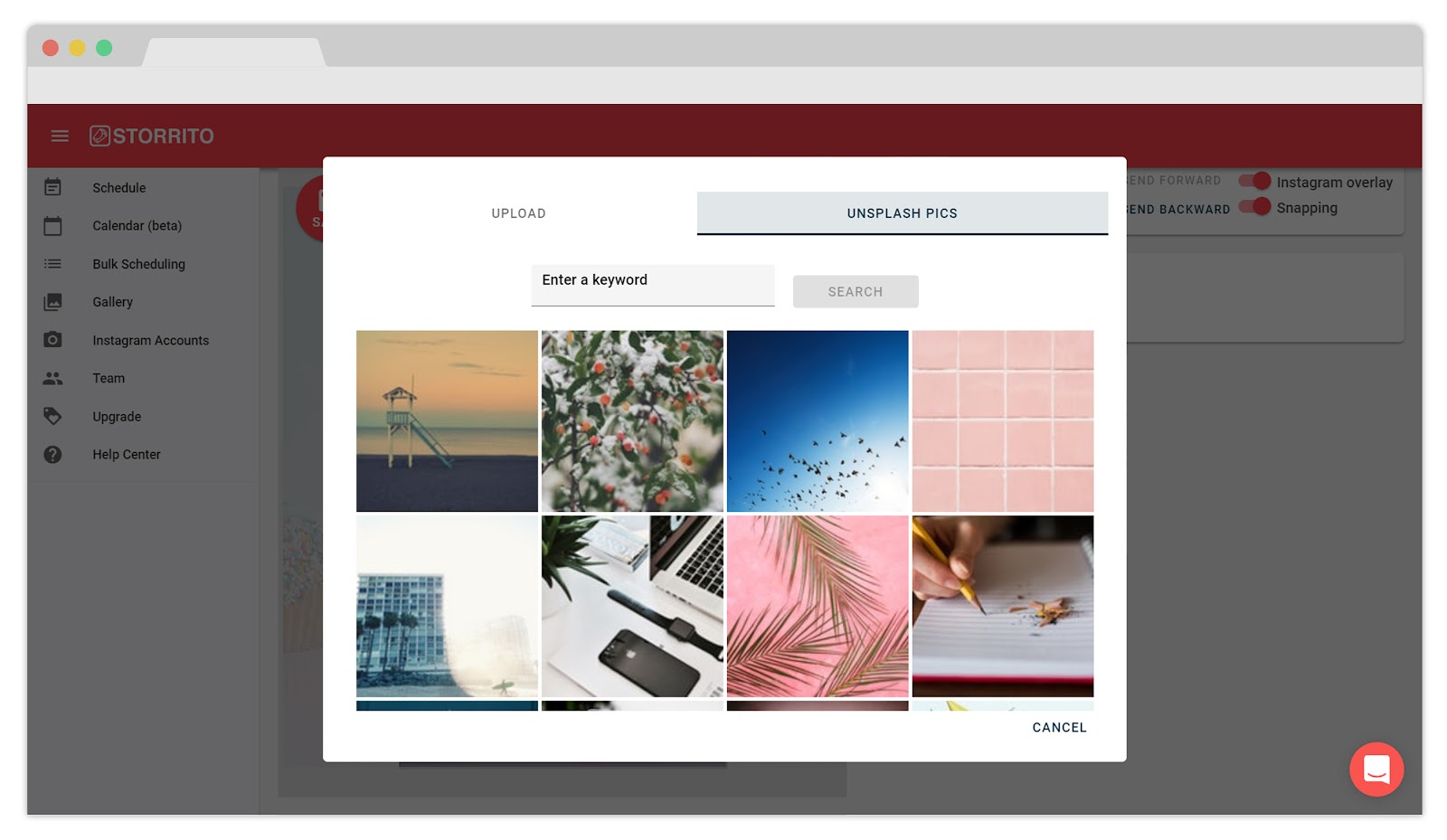 Inserting stock photos with Storrito's stock integration