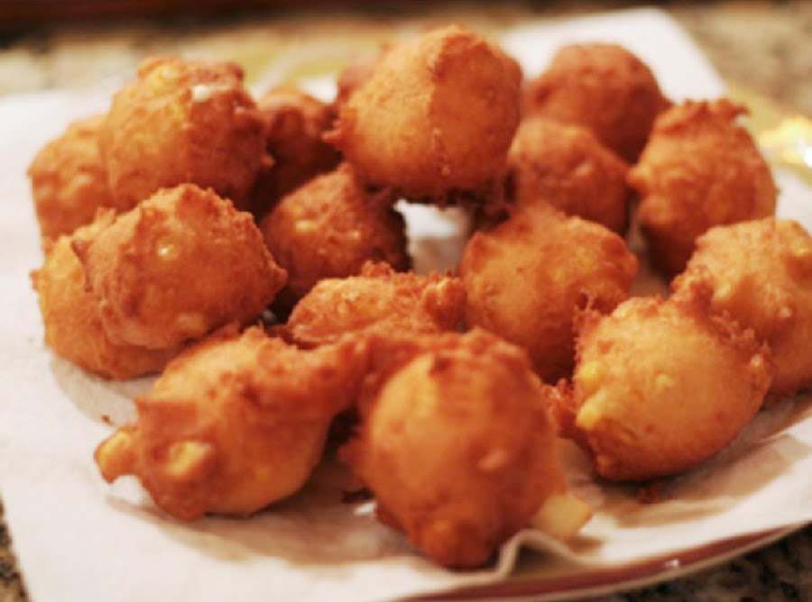 Corn fritters recipe just a pinch recipes for Jj fish menu