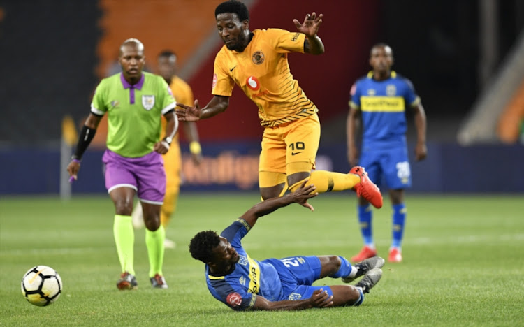 Thato Mokeke of Cape Town City FC and Siphelele Leonard Ntshangase of Kaizer Chiefs during the Absa Premiership match between Kaizer Chiefs and Cape Town City FC at FNB Stadium on January 30, 2019 in Johannesburg, South Africa.