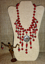 Photo: <BEREHYNYA> {Great Goddess Protectress} unique one-of-a-kind statement jewellery by Luba Bilash ART & ADORNMENT  # 127 EYE OF WISDOM/OКО МУДРОСТІ - sterling silver & coral pendant, coral, silver plate $180/set @ Oseredok Boutique, Winnipeg SOLD/ПРОДАНИЙ