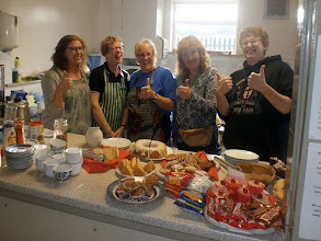 Photo: 008 Spotlight on the Refreshments Team! A really splendid array of savoury and sweet eats were available all day courtesy of the hardworking team. From the left: Becky, Julie, Pam, Crystal and Tim, left centre and right all being members of the Haigh family; Dad being out in the hall playing with his trainset .