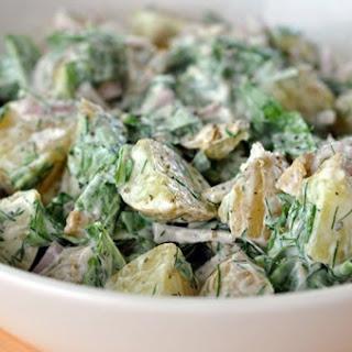 Potato Salad with Yogurt, Arugula, and Herbs.