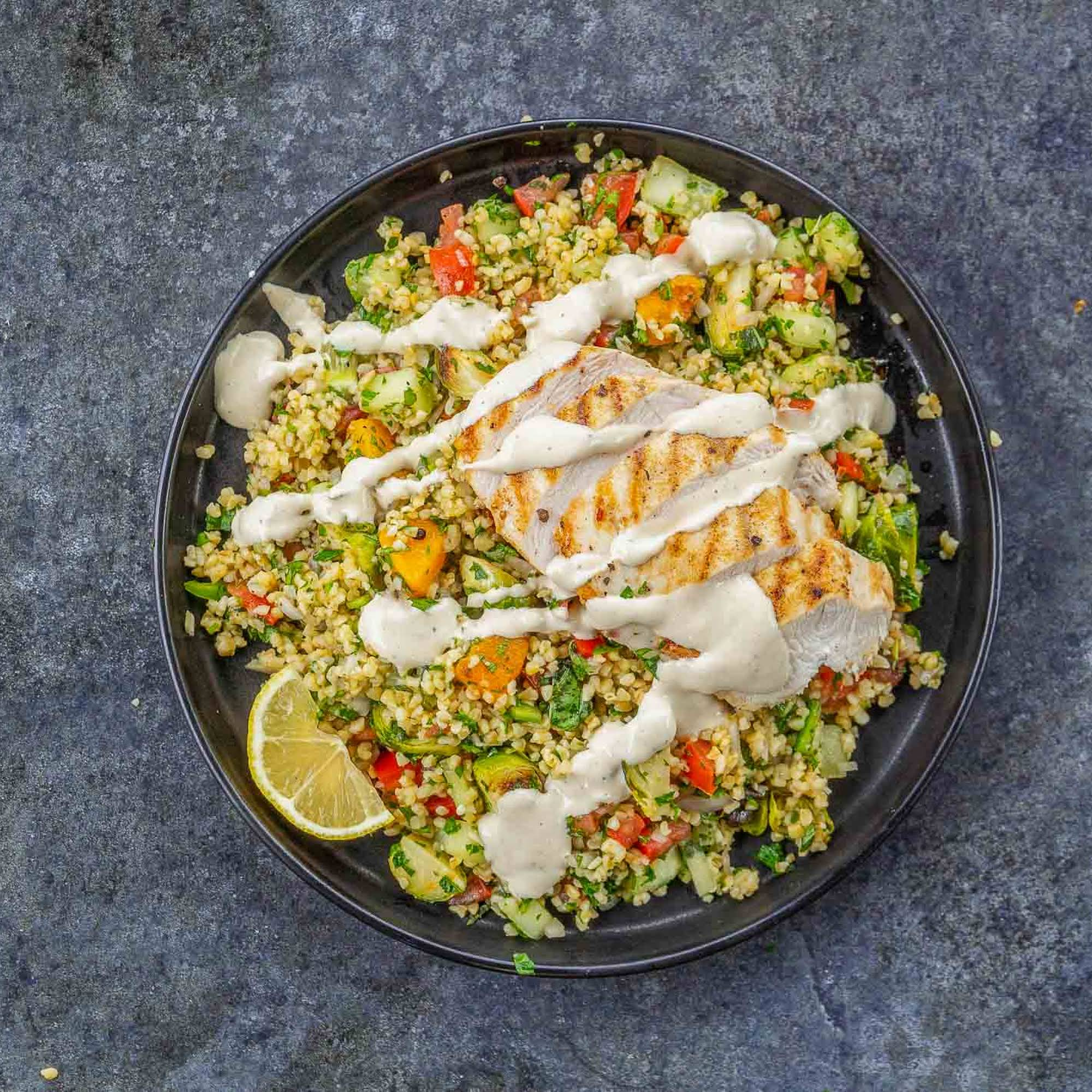 Chicken Tabbouleh Recipe  similar to Roasted Veggies and Tahini