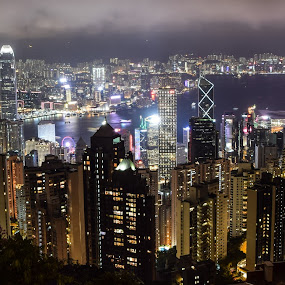 HK Night View by Loh Jiann - City,  Street & Park  Vistas ( night view, mountain peak, buildings, hong kong, landscape,  )