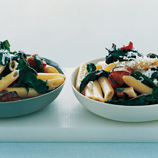 Pasta with Kielbasa and Swiss Chard.