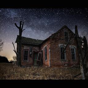 Brick House by Aaron Groen - Buildings & Architecture Other Exteriors ( aaron groen, brick, stars, homegroen photography, dark, milky way stars, night, south dakota, house, forgotten, milky way )
