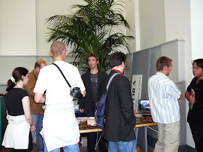 Photo: The sales booth of Redfern National History with the owner Stewart McPherson (center). On the right Andreas Fleischmann and Francois Mey.