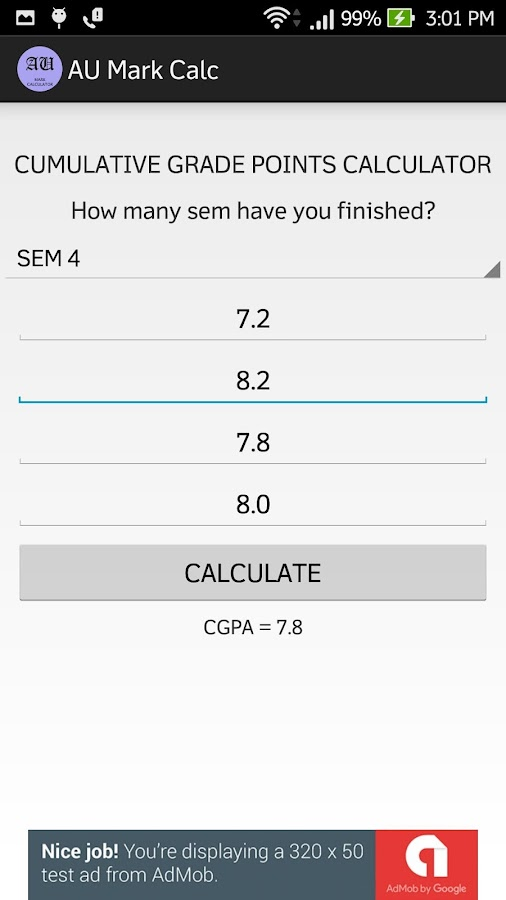 AU Mark Calc- screenshot