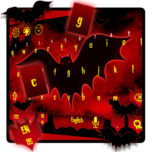 red bat keyboard horror dark night castle