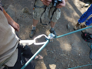 Photo: Rappelling with a carrabinner brake