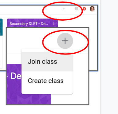 Create or Join a Class Icon button is highlighted.  