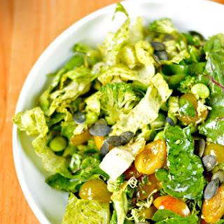 Greens, Plums & Edamame Salad with Pumpkin Seed Vinaigrette