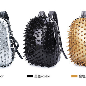 Fashion hedgehog rivet large capacity leather backpack