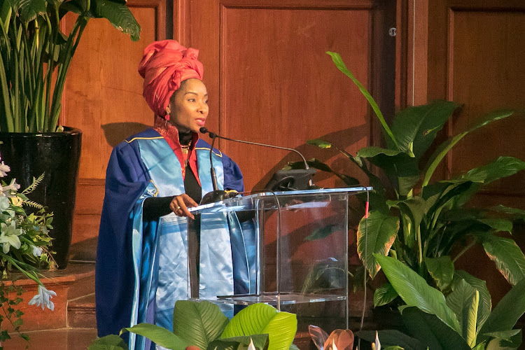 UCT vice-chancellor Mamokgethi Phakeng speaks during the memorial service of the dean of health sciences Professor Bongani Mayosi at the university's Memorial Hall on August 2 2018
