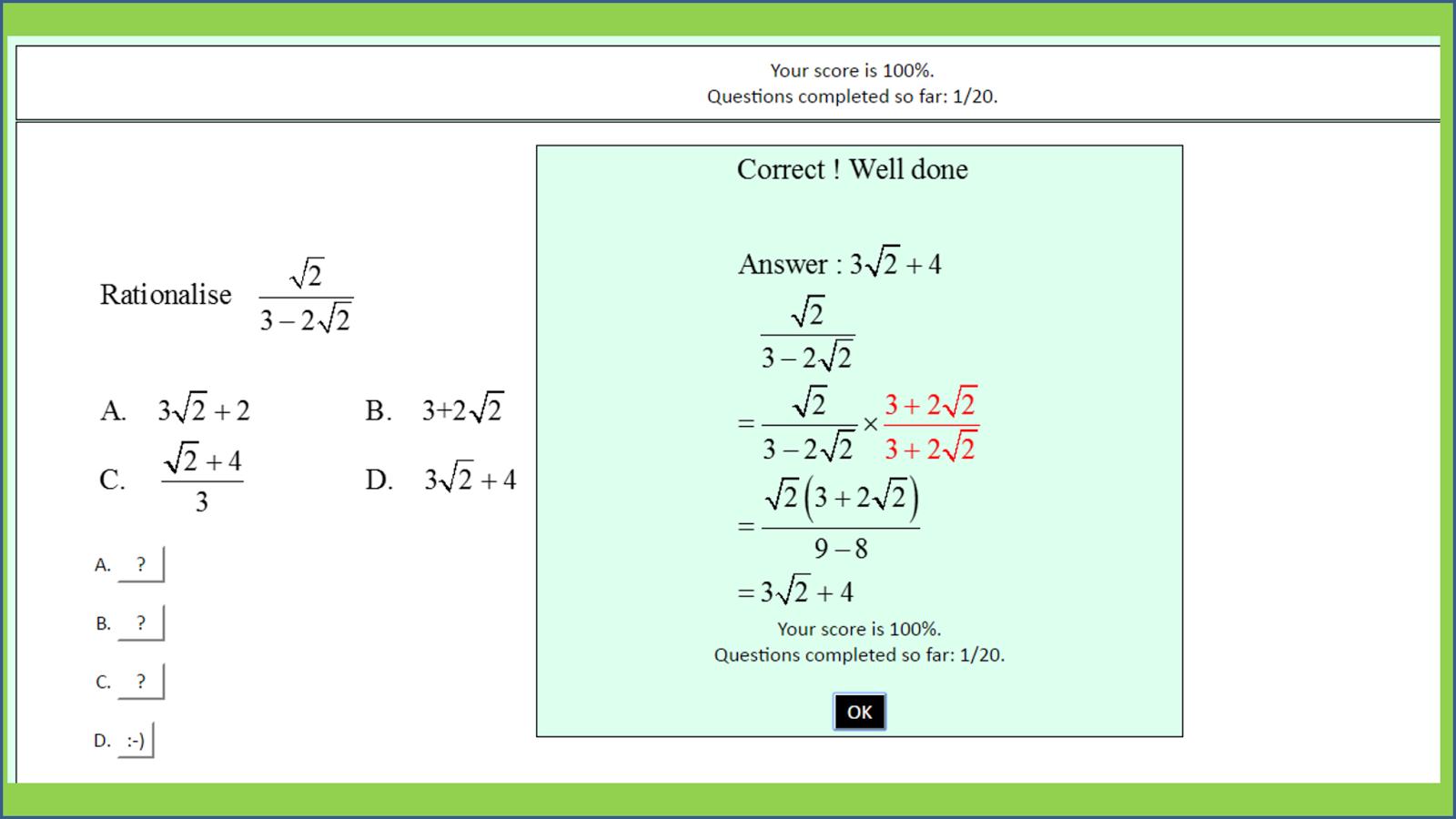 Mathematics C1 Algebra Surds Screenshot