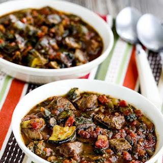Paleo Italian Beef Stew with Zucchini, Mushrooms, and Basil.