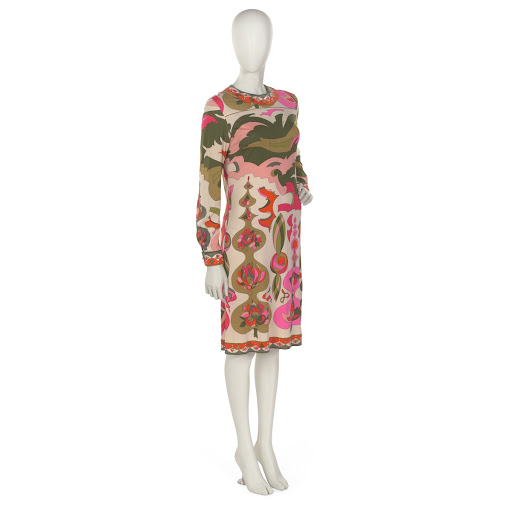 Dress of printed silk jersey in shades of olive green, pink, orange and off-white