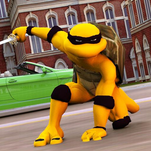 Flying Superhero Turtle Game in Ninja City