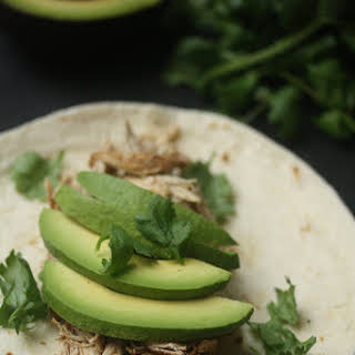 Pulled Chicken Thigh Tacos with Avocado.