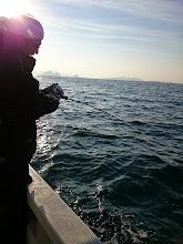 Photo: 「船頭!俺のだから食べちゃだめよー!」 ・・・食うかっ! っていうか魚ヒットしてるの?