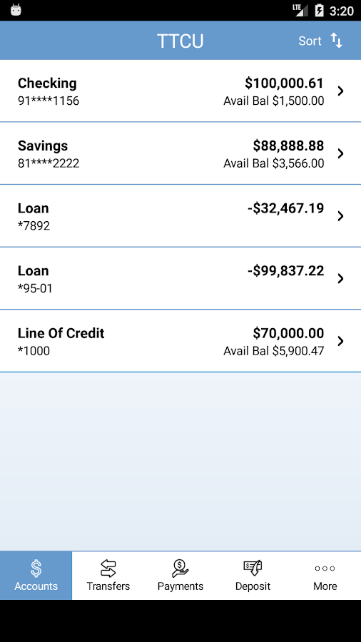 Texas Telcom Credit Union- screenshot