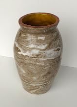 """Photo: """"A Pot a Day, 4/20/11"""" Porcelain and stoneware are roughly wedged together and then pressed into a plaster mold, then clear glazed."""