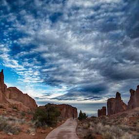Morning sky in Arches National Park by Brent Morris - Landscapes Cloud Formations