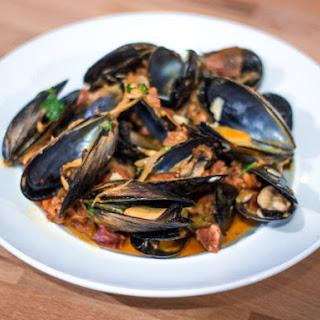 Spanish Mussels in Tomato Chorizo Sauce.