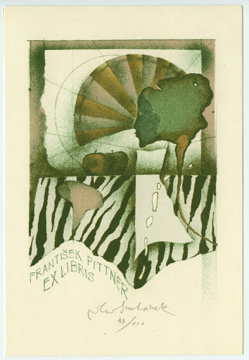 123. Bookplate. Woman´s head, two apples on a napkin.
