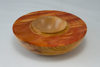 "Photo: Gary Guenther 6"" x 1 1/2"" bowl [figured maple with red dye]"