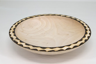"Photo: Tim Aley  [8 1/2"" x 1 3/4""] bowl [maple, pyrography]"
