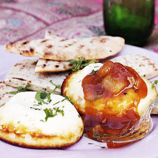 Spicy Baked Ricotta with Naan and Mango Chutney.