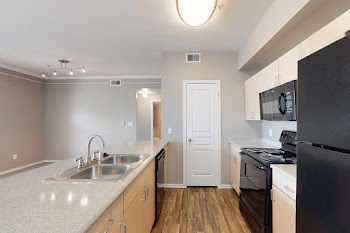 Fully-equipped kitchen with black appliances, light wood cabinetry, and wood-style flooring