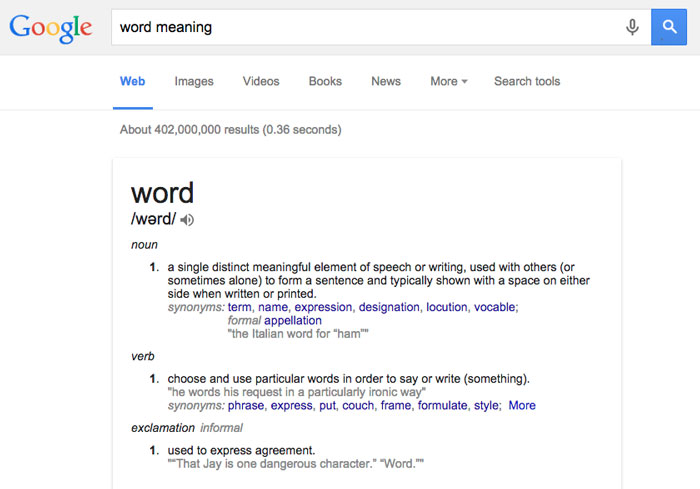 Google Tips and Tricks: Dictionary