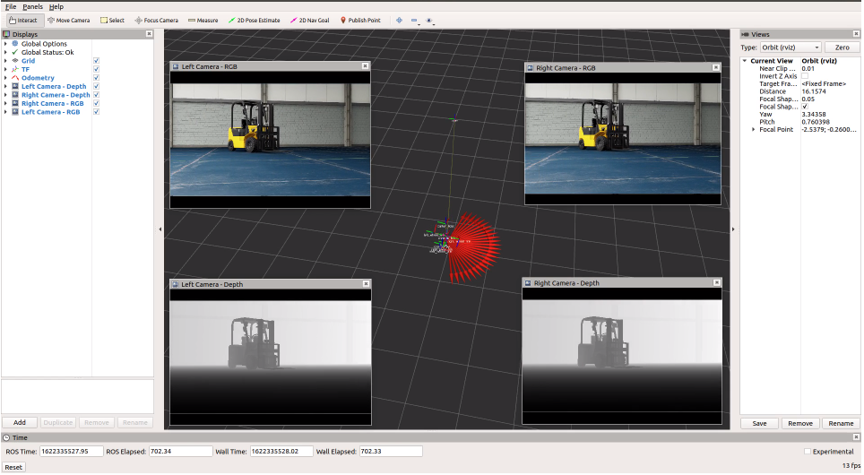 Image demonstrates Isaac ROS stereo camera support with the left and right camera view in the ROS Rviz tool.